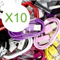 Lot 10 cables USB coloris assortis pour iPhone & iPad - accessoire