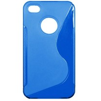 "iPhone 4/4S : Etui gel bleu design ""S"""