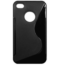"iPhone 4/4S : Etui gel noir design ""S"""