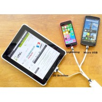 CABLE USB 3 EN 1 iPhone, iPad, Samsung