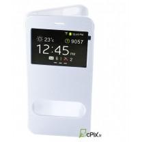 iPhone 6 Plus : Etui Flip cover blanc à double fenetre