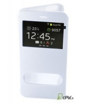 iPhone 6 / 6S : Etui Flip cover Blanc à double fenetre