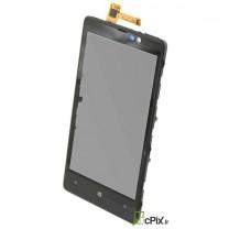 Nokia Lumia 820 : Vitre tactile noire avec chassis - pièce détachée