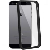 iPhone 5 / 5S / SE : coque rigide de protection noire et transparente - accessoire
