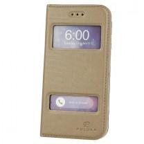 iPhone 6 / 6S : Etui Flip cover doré à double fenetre