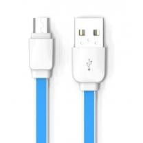 Câble Micro USB plat Bleu de charge et Synchronisation pour Smartphones Android