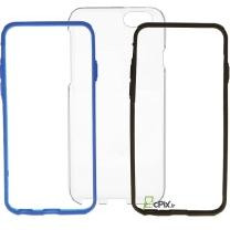 iPhone 6 / 6S : Coque rigide transparente + 2 bumpers bleu et noir à insérer