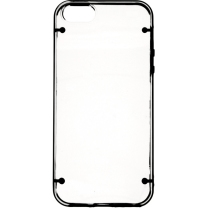 IPHONE 5 / 5S / SE : Coque bumper transparente et noir semi rigide