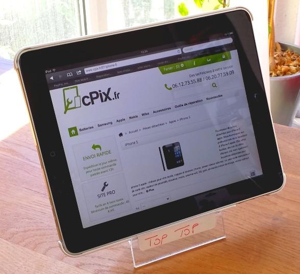 Présentoir support plexiglass exposition iPad Tablette