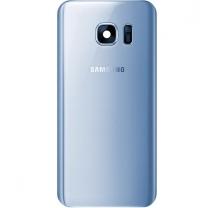Galaxy S7 Edge SM-G935F : Vitre arrière Bleu Corail cache batterie officiel Samsung