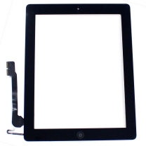 iPad 4 : Complet : Vitre tactile noire avec bouton home, adhésifs