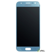 Vue de face de l' Ecran Bleu + vitre tactile Officiel Samsung Galaxy J3 2017 (SM-J330F)