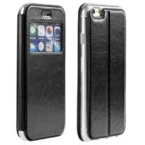 iPhone 5, 5S, SE : ÉTUI SIMILI CUIR PORTE CARTES NOIR FONCTION CHEVALET -face
