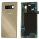 Vue recto verso de la vitre arriere cache batterie Galaxy Note8 (SM-N950F) couleur Or Topaze. Officiel Samsung