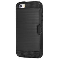 iPhone 5 / 5S / SE : Coque antichoc noire avec porte carte