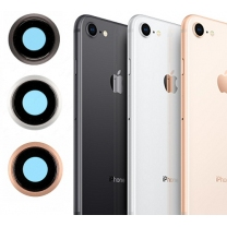 iPhone 8 : Lentille + bague métal de protection appareil photo arrière