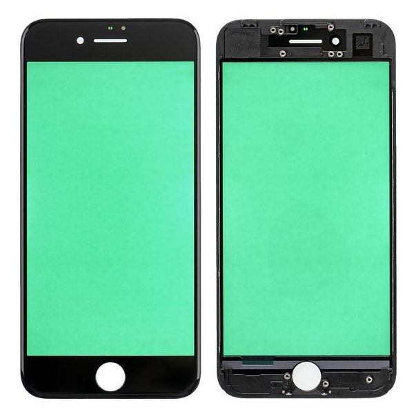 Vitre châssis iPhone 7 Noir collé assemblé contour bezel plastique