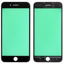 Vitre châssis iPhone 7 Plus Noir collé assemblé contour bezel plastique