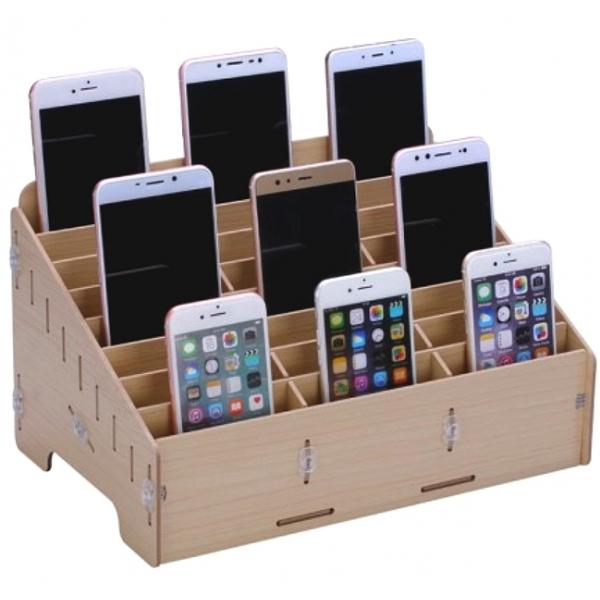 Casier de rangement en bois pour smartphones