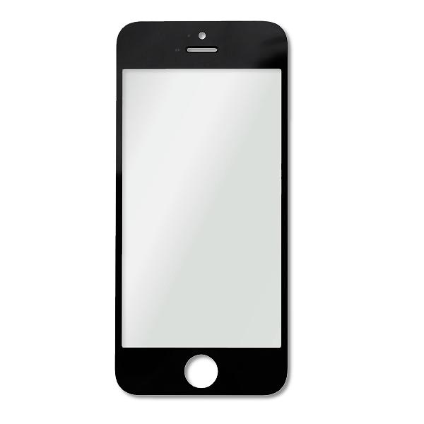iPhone 5 / 5S / 5C : Vitre seule noire - pièce détachée