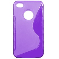 "iPhone 4/4S : Etui gel violet design ""S"""