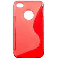 "iPhone 4/4S : Etui gel rouge design ""S"""