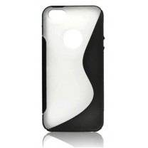 "iPhone 5 / 5S / SE : Etui gel noir translucide design ""S"""
