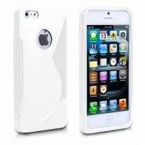 iPhone 5, 5S, SE : Etui gel blanc S design