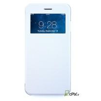 iPhone 6, 6S : Housse flip view blanc et transparent- accessoire