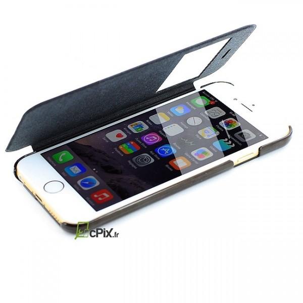 etui clapet noir pour iphone 6 plus apple protection. Black Bedroom Furniture Sets. Home Design Ideas