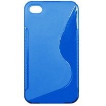 "Etui gel bleu design ""S"" Plein iPhone 4, 4S"