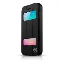iPhone 5, 5S, SE : Etui noir effet cuir et carbone Visionary ITSKINS