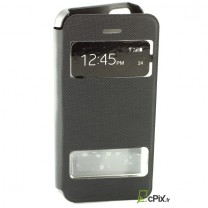 Etui Flip cover noir double fenetre : iPhone 5