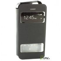 Etui Flip cover noir double fenetre : iPhone 5