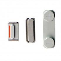 iPhone 5 : Lot 3 boutons chromes volume power mute - pièce détachée