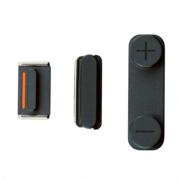 lot 3 boutons noirs volume mute power pour iphone 5 apple. Black Bedroom Furniture Sets. Home Design Ideas