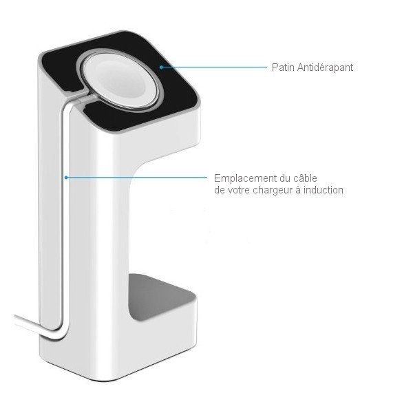 support apple watch blanc pour chargeur induction. Black Bedroom Furniture Sets. Home Design Ideas