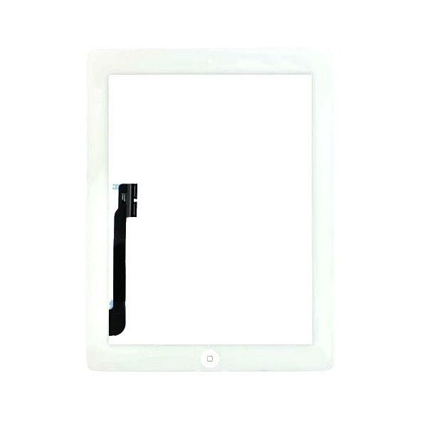 iPad 4 : complet : Vitre tactile blanche avec bouton home, adhésifs