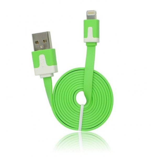 Câble iPhone lightning plat Vert- accessoire