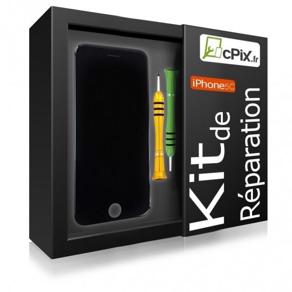 kit r paration iphone 5c noir avec vitre cran outils. Black Bedroom Furniture Sets. Home Design Ideas