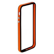 iPhone 5 / 5S / SE : Bumper noir coloré -orange