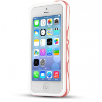 IPhone 5C : Bumper ITSKINS à double protection Blanc / Rose