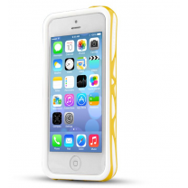 IPhone 5C : Bumper à double protection Blanc / Jaune ITSKINS