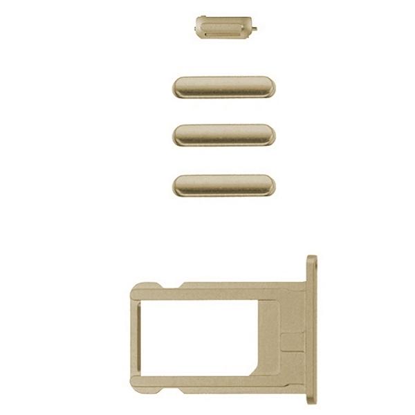 iPhone 6 Plus : Lot 4 boutons + tiroir sim doré couleur Or Volume Power Mute