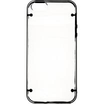 IPHONE 5 / 5S / SE : Coque bumper transparente et noir semi rigide -face