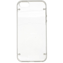 IPHONE 5 / 5S / SE : Coque bumper transparente et blanc semi rigide - dos