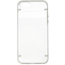 IPHONE 5 / 5S / SE : Coque bumper transparente et blanc semi rigide - dos