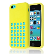 iPhone 5C : Coque en gel perforée jaune