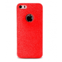 iPhone 5 / 5S / SE : Coque de protection couleur rouge pailletée