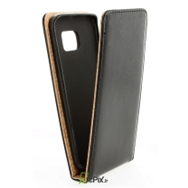 Galaxy S6 Edge : Etui rabat noir simili cuir - accessoire